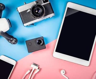 Technikartikel rosa und blau